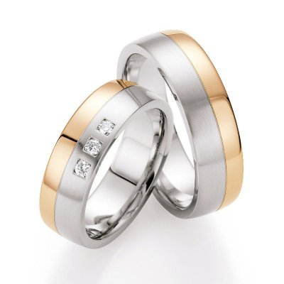Gold & Steel Selection Ringpaar aus Edelstahl & 585 Gold 6,5mm mit 3 Dia. 0,111ct
