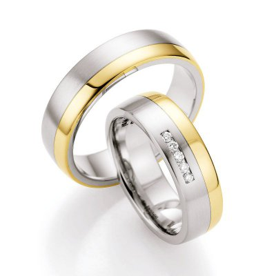 Gold & Steel Selection Ringpaar aus Edelstahl & 585 Gold 6mm mit 5 Dia. 0,075ct