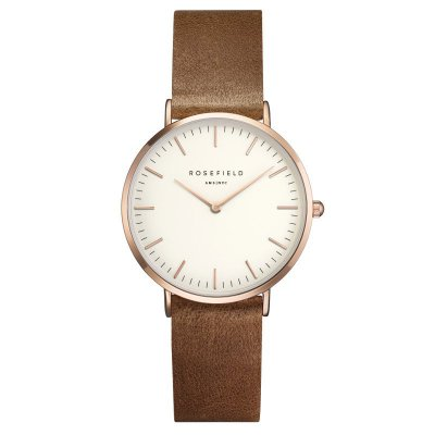 "Rosefield Damenuhr ""The Tribeca"" Weiß/Braun/Rosé - 33mm"