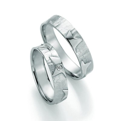 SIGNS of LOVE Ringpaar Sterne aus 925 Silber 5,3mm 1 Dia. 0,025ct