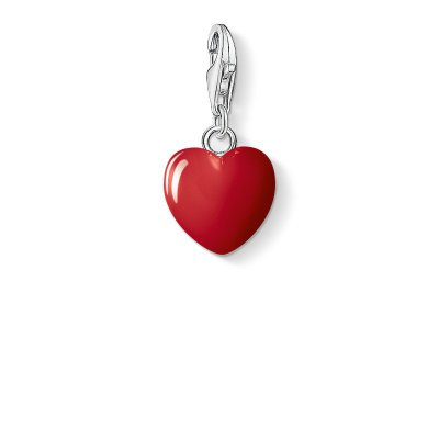 "Thomas Sabo Charm-Anhänger ""Rotes Herz"" aus 925 Sterlingsilber, Kaltemail"