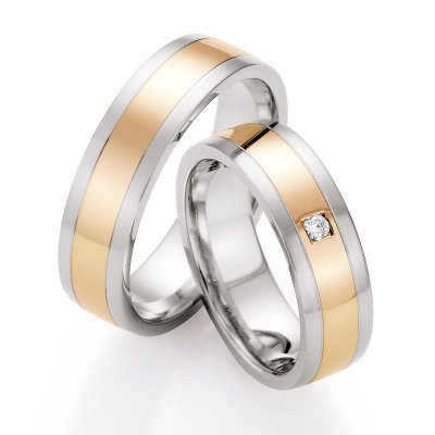 Gold & Steel Selection Ringpaar aus Edelstahl & 585 Gold 6mm mit 1 Dia. 0,037ct