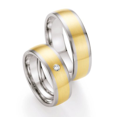 Gold & Steel Selection Ringpaar aus Edelstahl & 585 Gold 6,5mm mit 1 Dia. 0,055ct